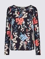 Classic Floral Print Twist Neck Long Sleeve T-Shirt
