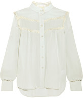 See by Chloe Lace-trimmed Silk Crepe De Chine Blouse - Sky blue