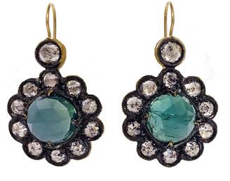 Cathy Waterman Green Tourmaline Lace Edge Drop Earrings - Yellow Gold
