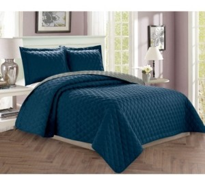 Elegant Comfort Luxury 3-Piece Bedspread Coverlet Diamond Design Quilted Set with Shams - King/California King Bedding