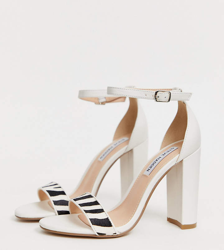 50aeeaa61b1 Carrson white leather heeled sandals with zebra detail