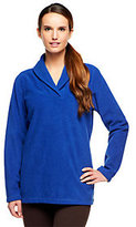 Denim & Co. Shawl Collar Long Sleeve Fleece Top