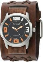 Nemesis Men's 107BVDXB-KN Orange/Black Embossed 3D Series Faded Double X Leather Cuff Band Analog Display Japanese Quartz Brown Watch