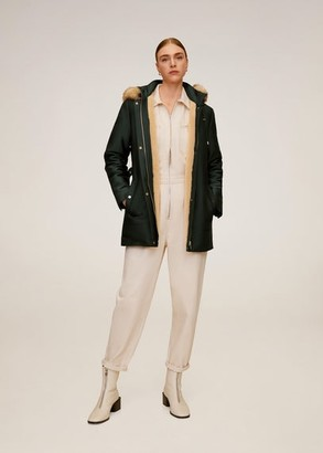MANGO Furry hooded parka dark green - XS - Women