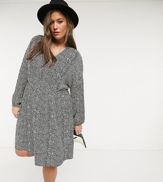 Only Curve tie waist dress in mono print