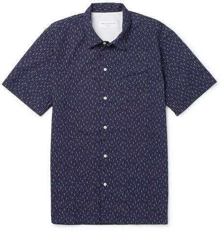 Officine Generale Slim-Fit Printed Cotton Shirt