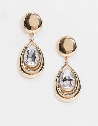 ASOS DESIGN earrings with crystal jewel teardrop in gold tone