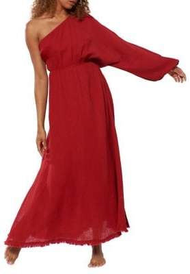 Red Carter One-Shoulder Cotton Coverup