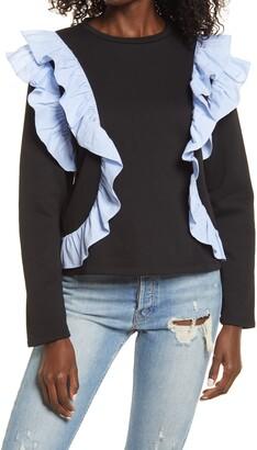 ENGLISH FACTORY Striped Ruffle Sweatshirt