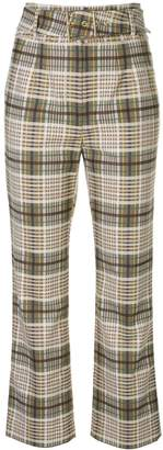Jonathan Simkhai belted plaid trousers