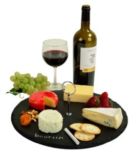 Picnic at Ascot Selva Slate Cheese Board Serving Tray, Write On with 2 Chalks