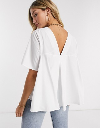 ASOS DESIGN short sleeve cotton top with pleat back detail in white