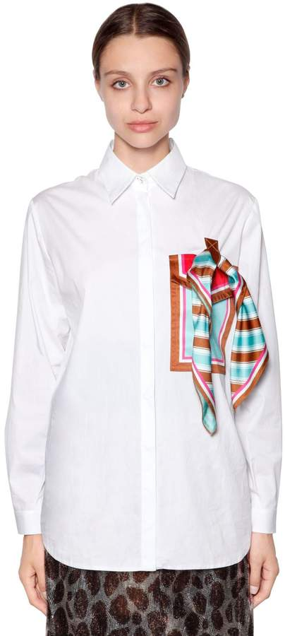 Marco De Vincenzo Cotton Poplin Shirt W/ Pocket & Scarf