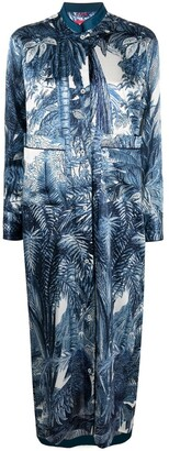 F.R.S For Restless Sleepers Foliage Print Shirt Maxi Dress