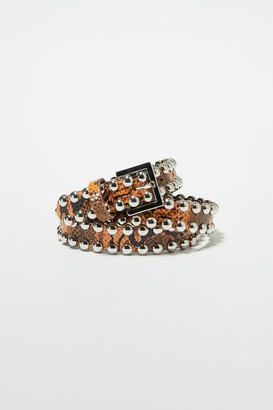 French Connenction Oz Snake Studded Leather Belt