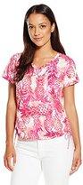 Caribbean Joe Women's Petite Pineapple Printed Short Sleeve V-Neck Tee Shirt