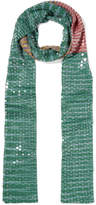 Missoni Sequined Striped Crochet-knit Scarf - Green