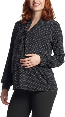 Everly Grey Vanessa Polka Dot Tie Neck Maternity/Nursing Top