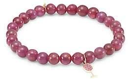 Sydney Evan Women's 14K Rose Gold, Red Garnet & Pink Sapphire Wine Glass Charm Beaded Bracelet