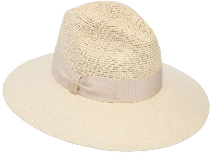 Borsalino Semi-Crochet Wide Brim Straw Panama Hat
