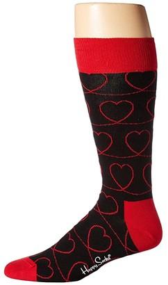 Happy Socks Loveline Sock (Black/Red) Men's Crew Cut Socks Shoes