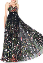 Mac Duggal Floral-Embroidered Sweetheart Sleeveless Bustier Gown