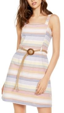 Planet Gold Derek Heart Juniors' Cotton Striped Belted Dress