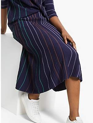Armedangels Paana Vertical Stripe Skirt, Evening Blue