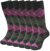 SUTTOS Elite Men's Boy's Custom Elite Pink Black Grey Argyle Plaid Striped Pattern Cotton Blend Winter Warm Long Tube Crew Boot Dressy Socks,Red Black,6 Pairs