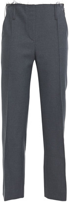 Rokh Cropped Frayed Twill Straight-leg Pants