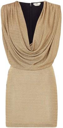 Fendi Metallic Draped Neckline Mini Dress