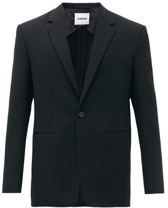 Jil Sander Silk-collar Single-breasted Wool-crepe Blazer - Mens - Black