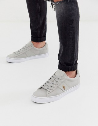 Polo Ralph Lauren canvas sayer sneakers in grey with multi player logo