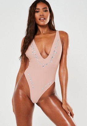 Missguided Jewel Plunge High Leg Swimsuit