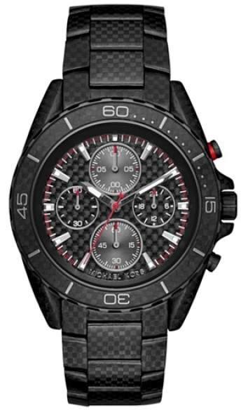 Michael Kors Chronograph JetMaster Carbon Fiber Stainless Steel Bracelet Mens Watch