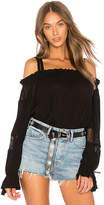 Band of Gypsies Long Sleeved Cold Shoulder Top in Black