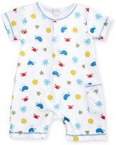 Kissy Kissy Deep Sea Delight Printed Pima Shortall, Blue/White, Size 3-24 Months