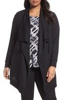 Sejour Plus Size Women's Drawstring Drape Front Knit Jacket