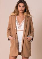 Missy Empire Primrose Camel Faux Fur Collar Coat