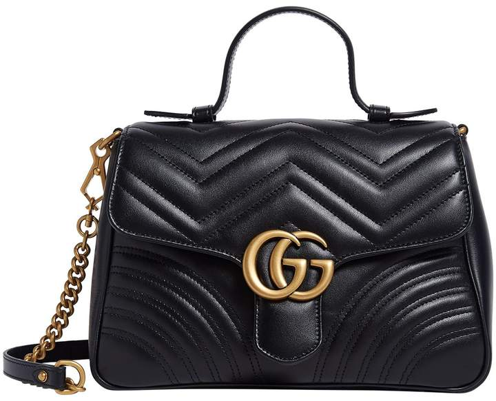 258e03b284b8 Gg Marmont Leather Top Handle Bag - ShopStyle