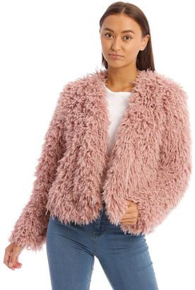 Miss Shop Pink Shaggy Jacket Dusty
