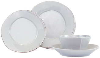 Vietri Set of 4 Lastra Place Setting - Light Gray