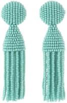 Oscar de la Renta Seafoam Short Beaded Tassel Earrings