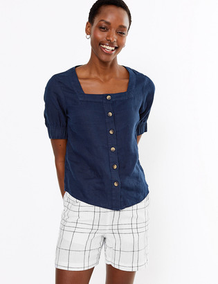 Marks and Spencer Linen Rich Checked Shorts