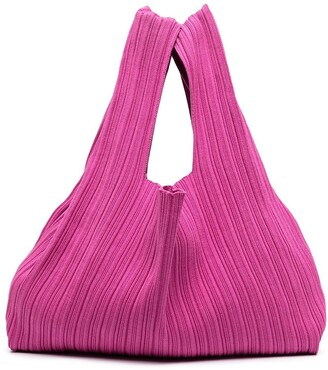 Sminfinity Pleated Silk-Blend Tote Bag