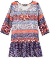 Sequin Hearts Ruffle-Hem Shift Dress & Necklace Set, Big Girls (7-16)