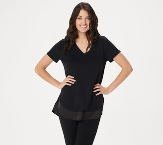 Halston H by Double Layer V-Neck Short-Sleeve Knit Top