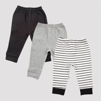 Luvable Friends Baby 3pk Stripped Tapered Ankle Pull-On Pants - /Gray