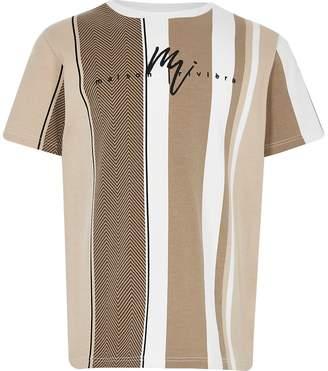 River Island Boys tan herringbone stripe T-shirt