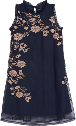Ava & Yelly Placement Embroidered Ruffle Shift Dress